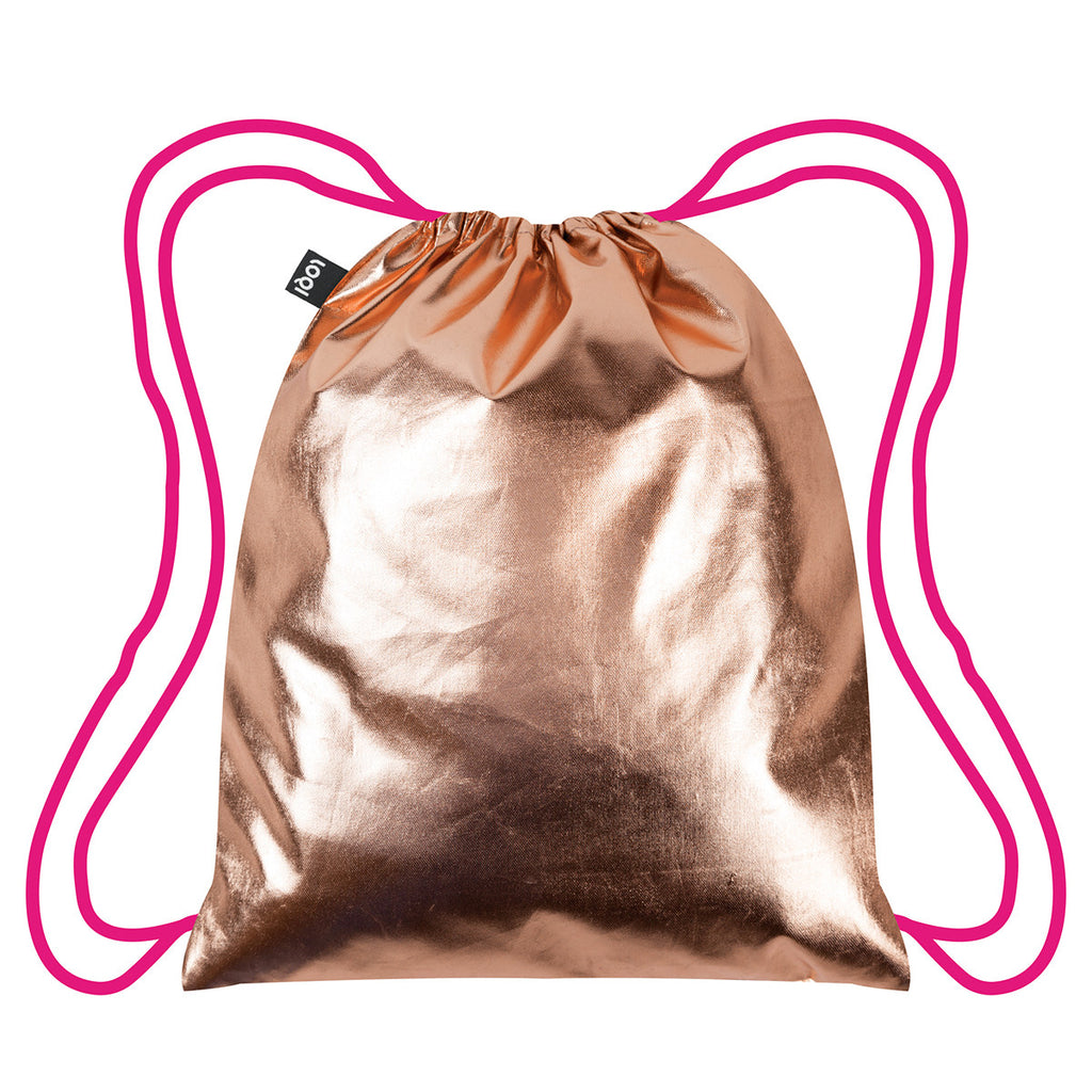 Loqi Metallic Neon Rose Gold Backpack