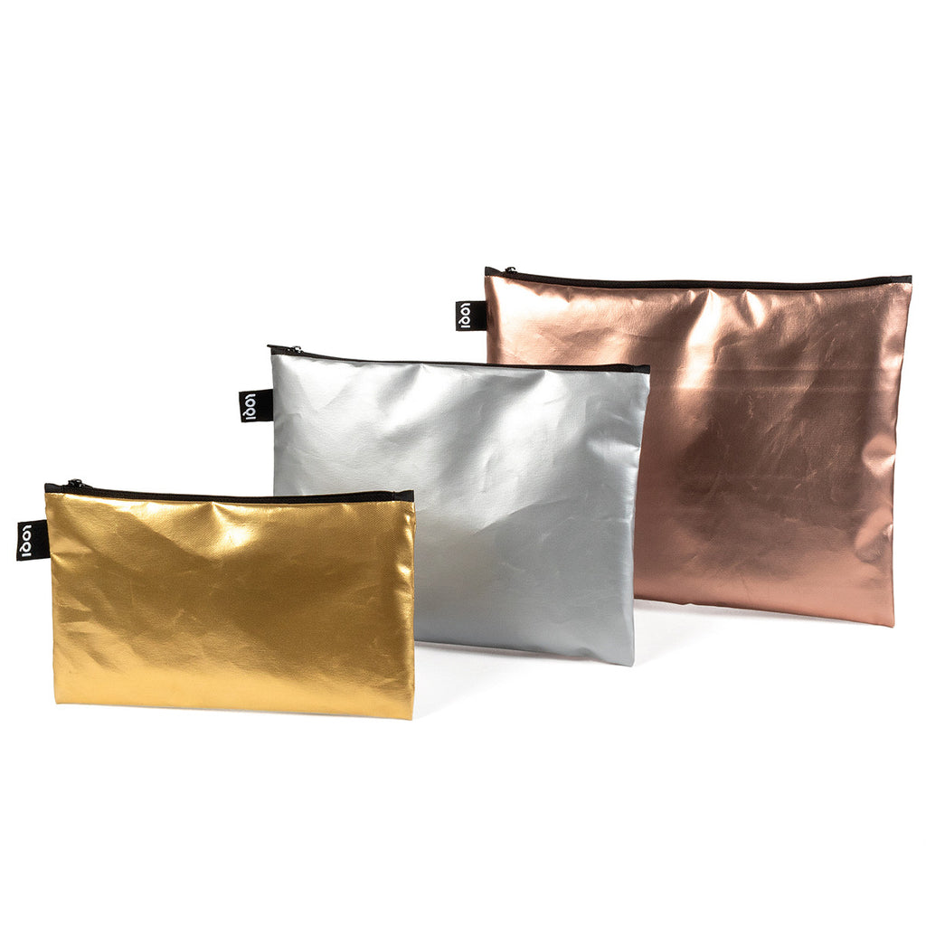 Loqi Set of 3 Metallic Matt Zip Pockets
