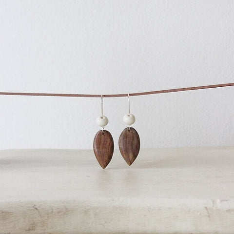 Woodfolk Natural Wood and Ceramic Pear Earrings