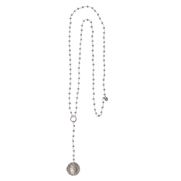 A Beautiful Story Rosary Grey Long Necklace