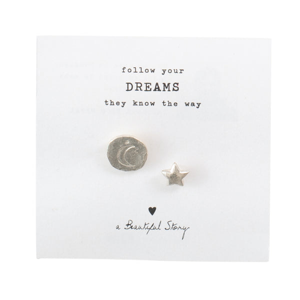 A Beautiful Story Star Moon Brooch