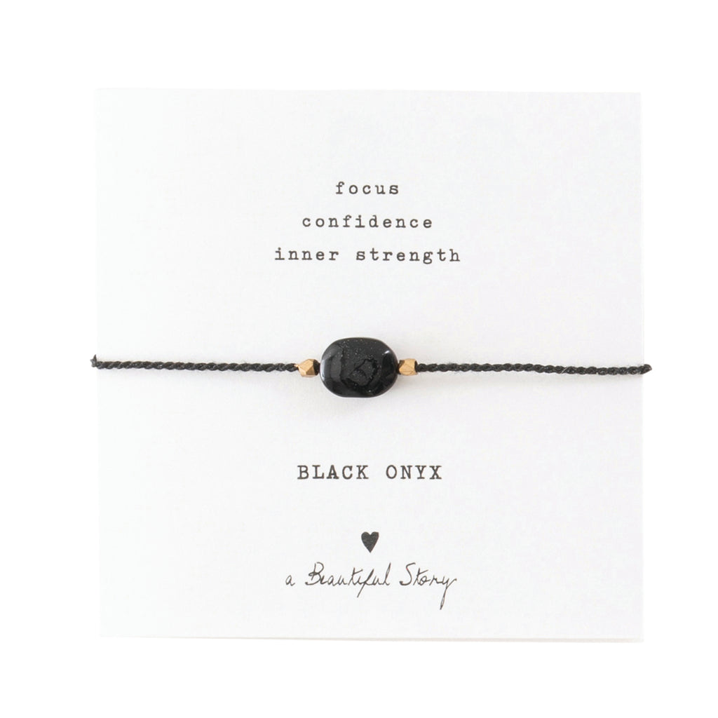 A Beautiful Story Gemstone Card Black Onyx Gold Bracelet