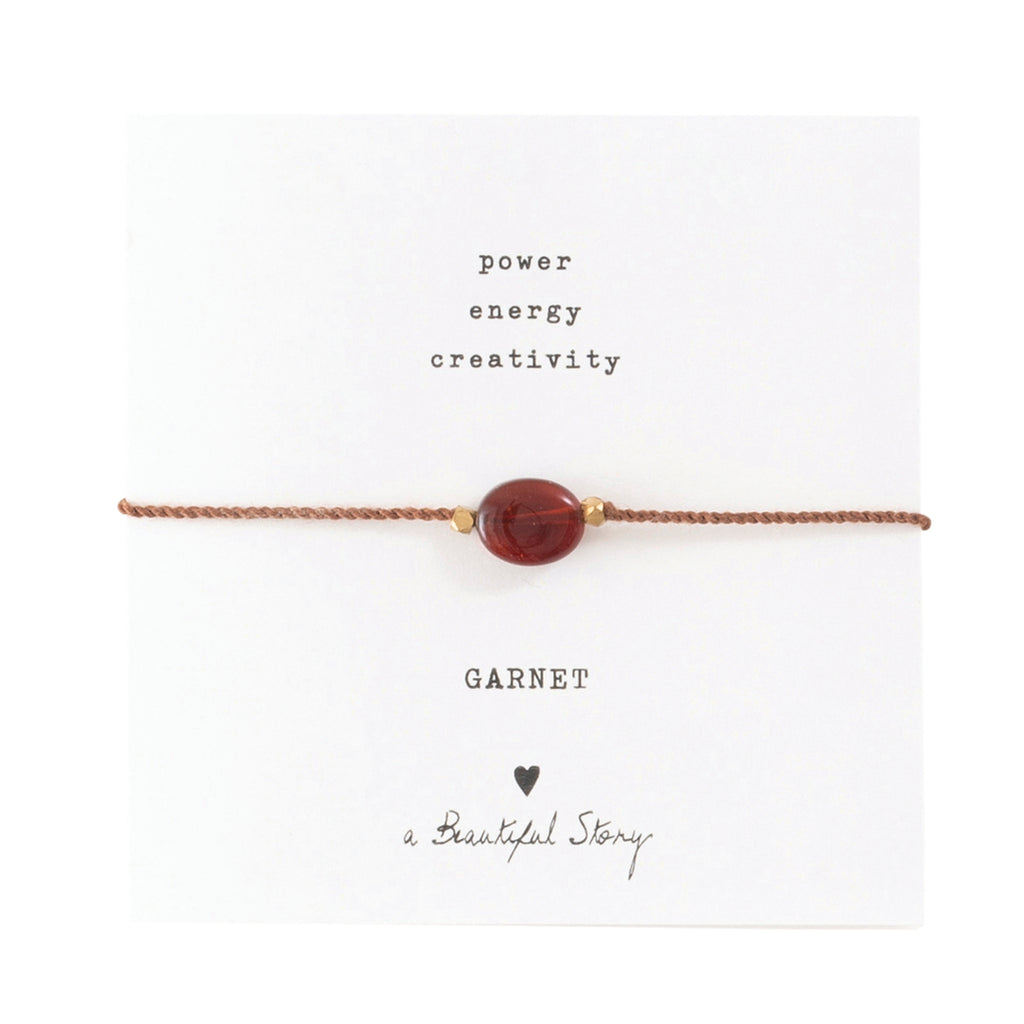 ABS Gemstone Card Garnet Gold Bracelet
