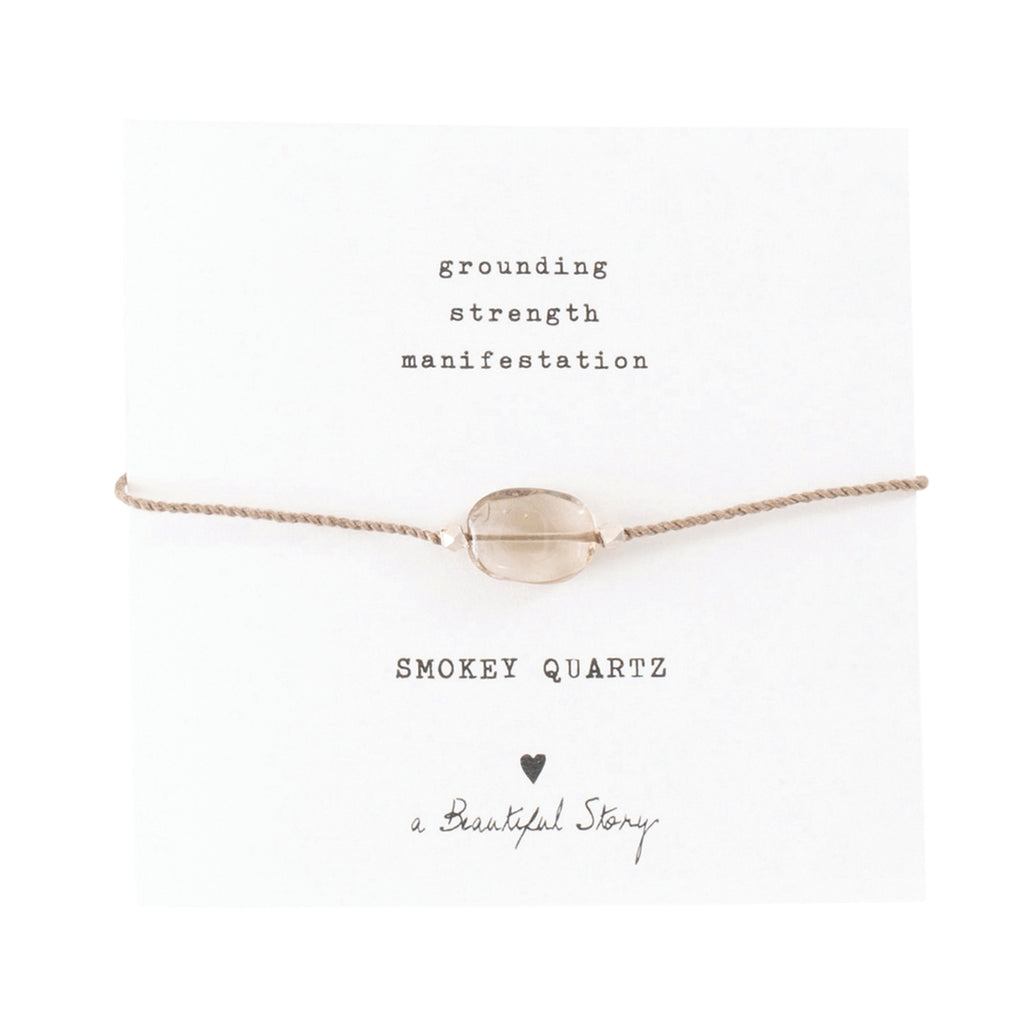 ABS Gemstone Card Smokey Quartz Silver Bracelet