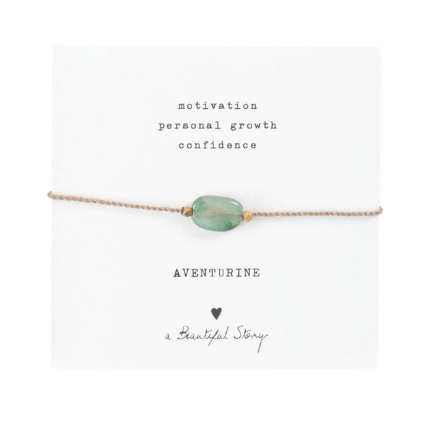 ABS Gemstone Card Aventurine Gold Bracelet