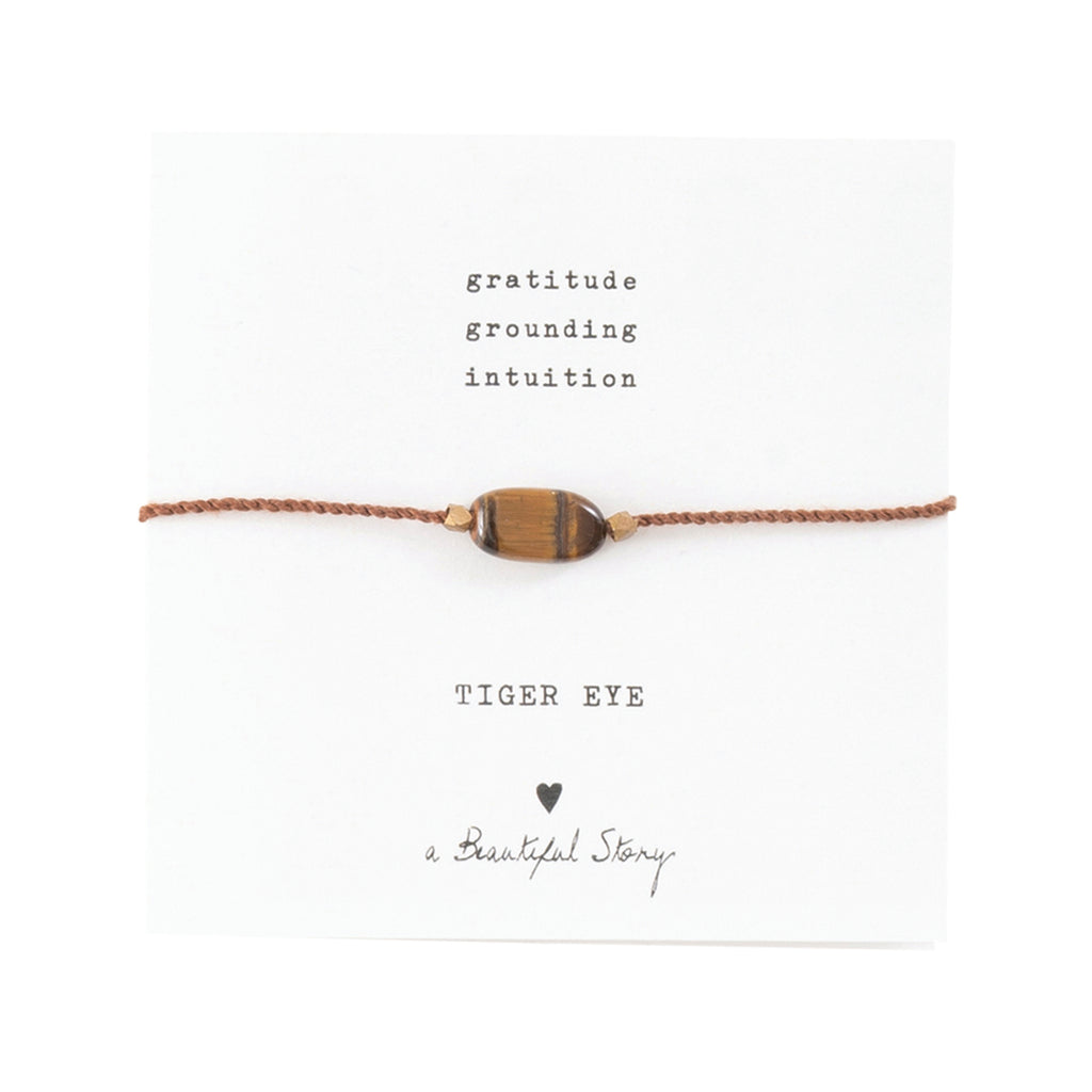 ABS Gemstone Card Tiger Eye Gold Bracelet