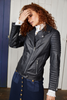Binny Bermuda Rig Leather Biker Jacket Navy