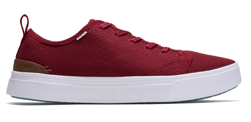 Toms Mens Red Knit Trvl Lite Low Sneaker