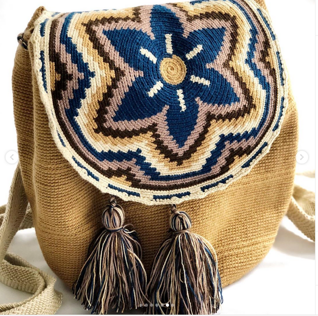 Casa Bonita Wayuu Crochet Backpack Beige