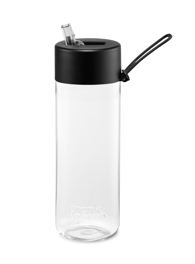 Frank Green Reusable Bottle 25oz - Black with Straw Lid