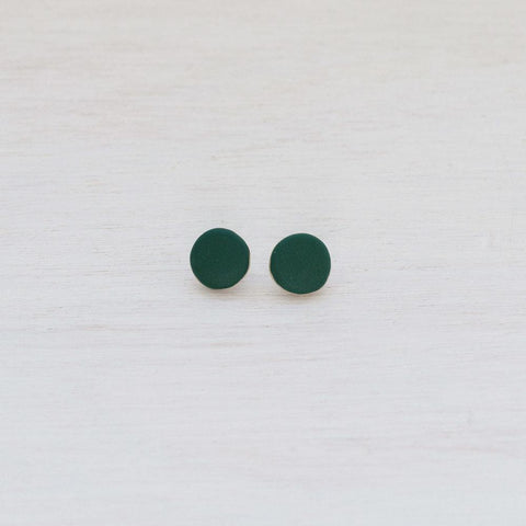 Woodfolk Evergreen Dot Studs