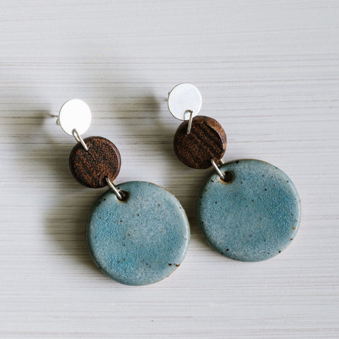 Woodfolk Shimmer Blue Circle Earrings