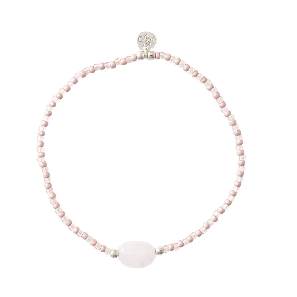 ABS Summer Rose Quartz Silver Bracelet