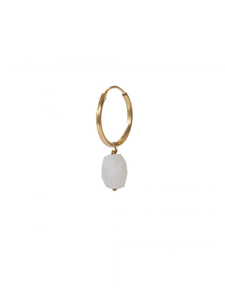 ABS Moonstone Sterling Silver Gold-Plated Hoop Earring