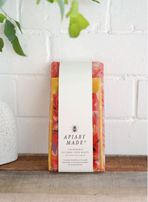 Apiary Made Colorful Kitchen Assorted 3 Pack Beeswax Wraps