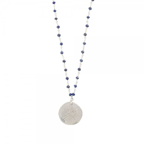 ABS Rosary Lapis Lazuli Dragonfly Silver Necklace