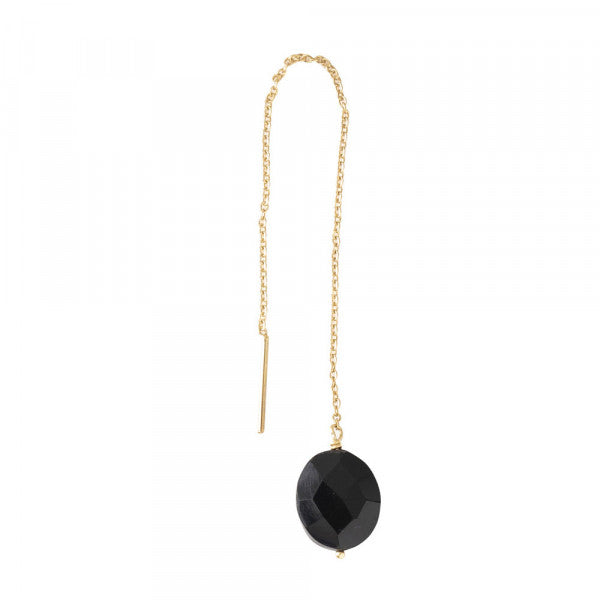 ABS Elegant Black Onyx Sterling Silver Gold-Plated Earring