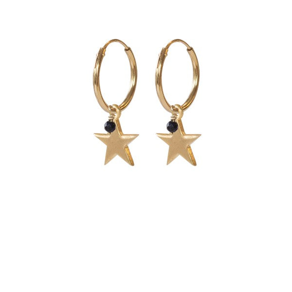 ABS Big Star Black Onyx Sterling Silver Gold-Plated Earrings