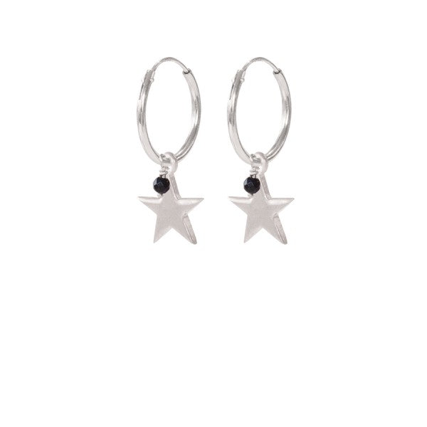 ABS Big Star Black Onyx Sterling Silver Earrings