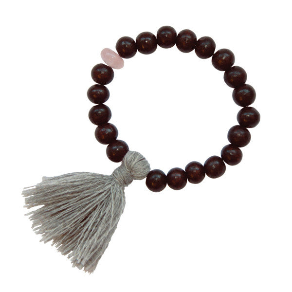 Gypsy Rose Quartz Rose Wood Bracelet