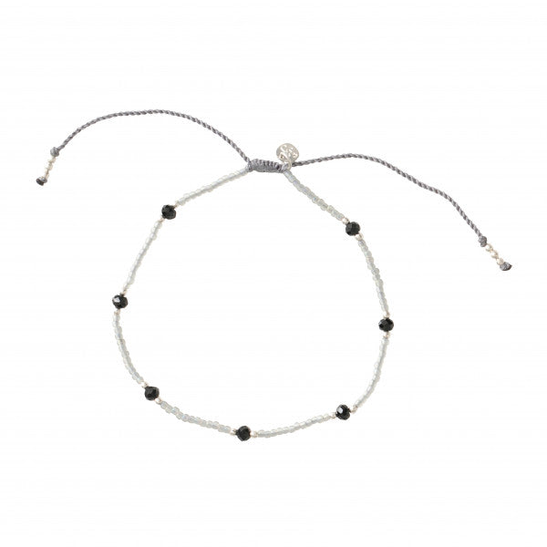 ABS Rainbow Black Onyx Silver Anklet