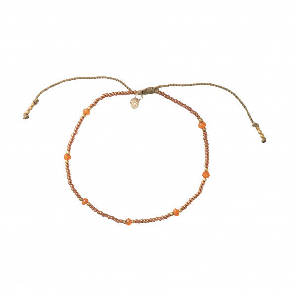 ABS Rainbow Carnelian Gold Anklet