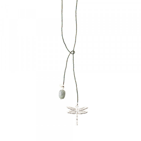 ABS Nova Labradorite Dragonfly Silver Necklace