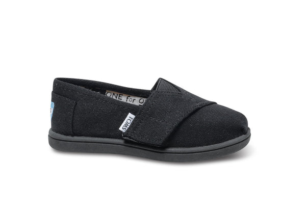 Toms Black Canvas Tiny Alpargata
