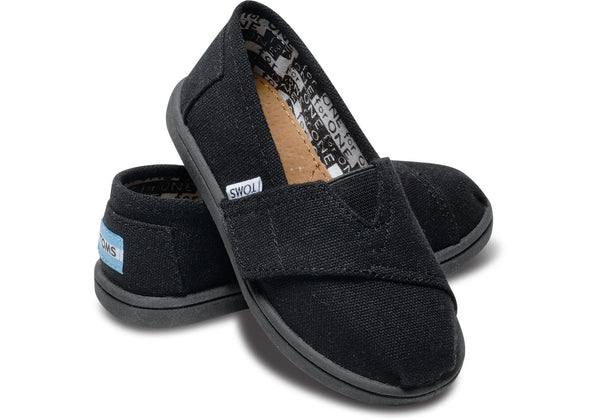 Toms Black Canvas Tiny Alpargata***