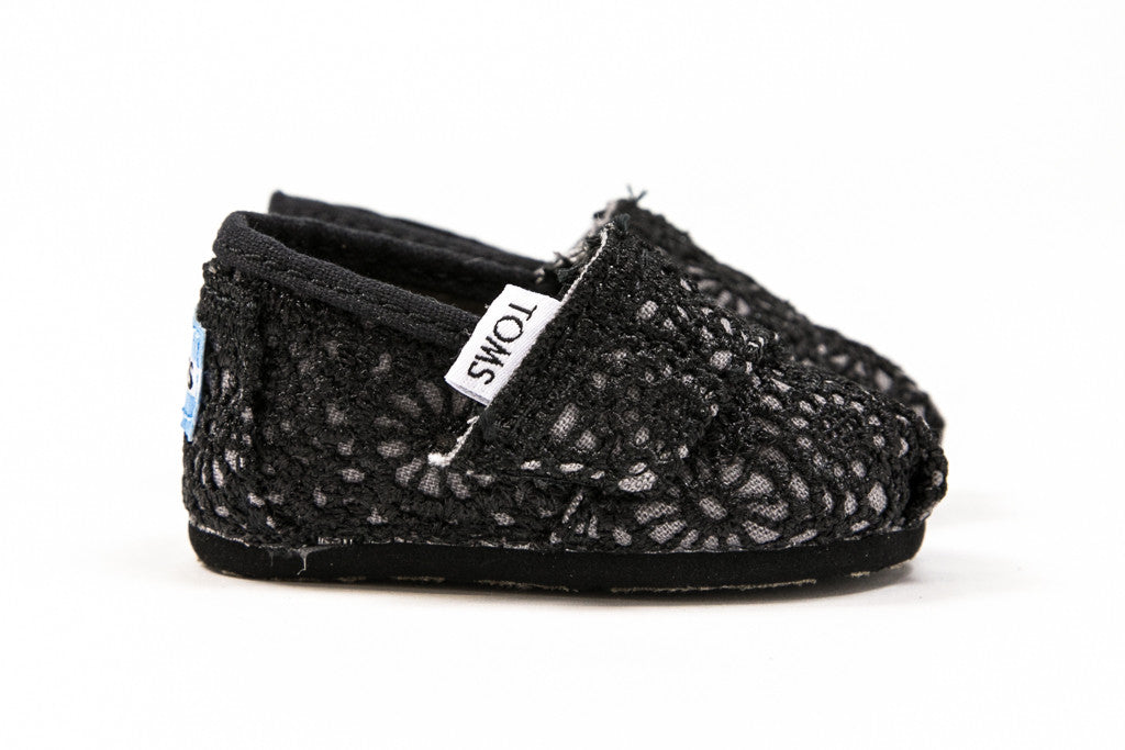 Toms Black Crochet Tiny Alpargata