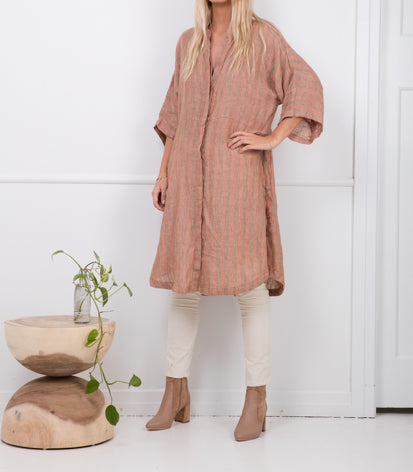 Zoe Kratzmann Cusp Linen Tunic in Rust Stripe