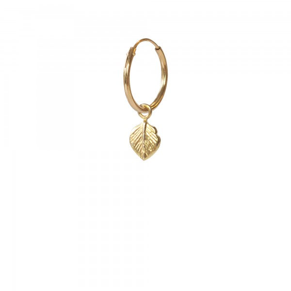 ABS Leaf Sterling Silver Gold Plated Hoop Earring