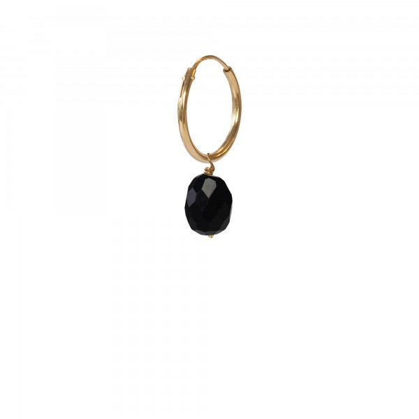 ABS Black Onyx Sterling Silver Gold Plated Hoop Earring