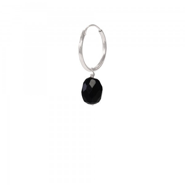 ABS Black Onyx Sterling Silver Hoop Earring