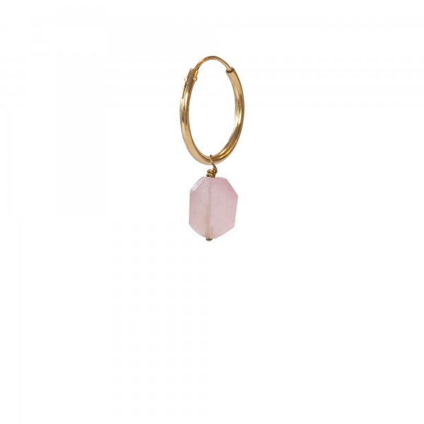 ABS Rose Quartz Sterling Silver Gold-Plated Hoop Earring