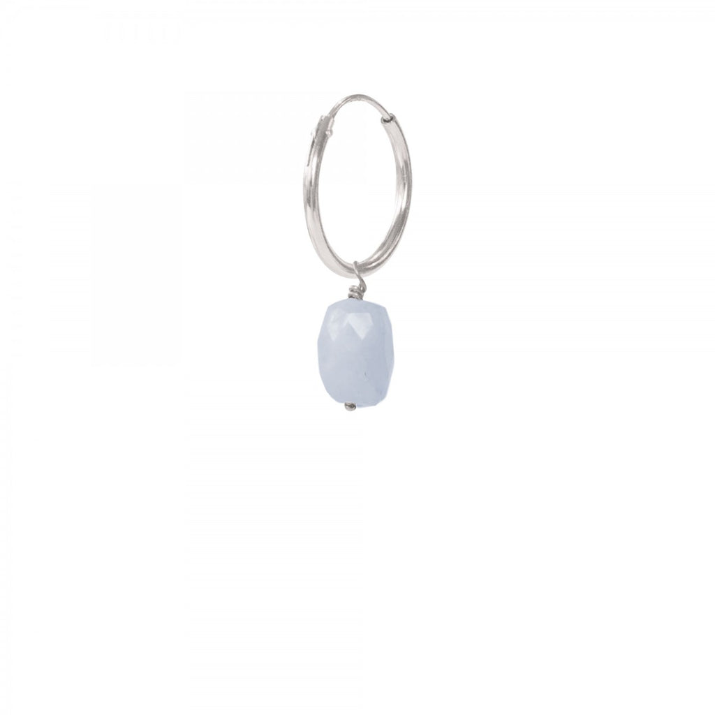 ABS Blue Lace Agate Sterling Silver Hoop Earring