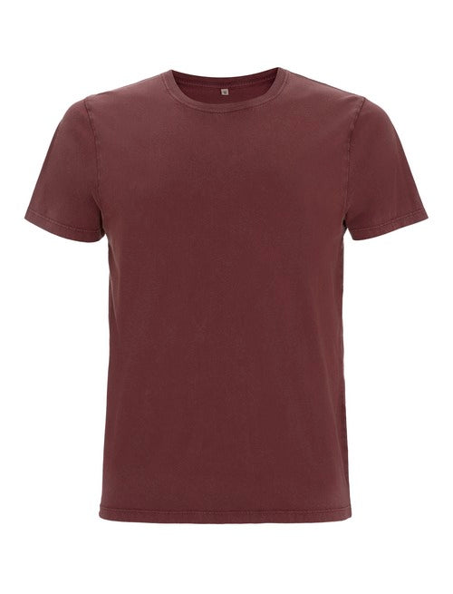 Fr33 Earth Mens Organic Stone Maroon T-Shirt