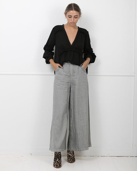 Zoe Kratzmann Froth Linen Pants Steel