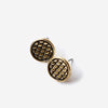 Half United Fish Scale Stud Gold Earrings