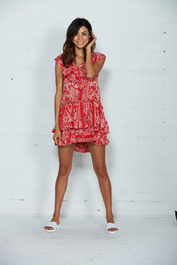 Cartel & Willow Lotte Frill Dress Red