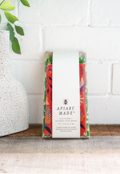 Apiary Made Pack of Three Medium Beeswax Food Wraps