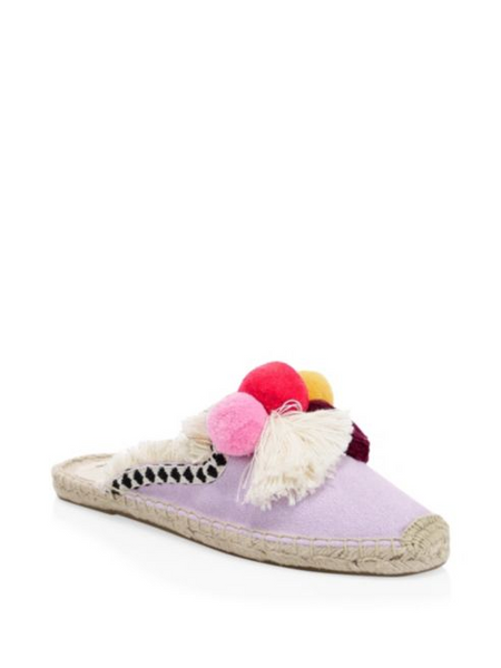 Soludos Frayed Edge Lilac Mules