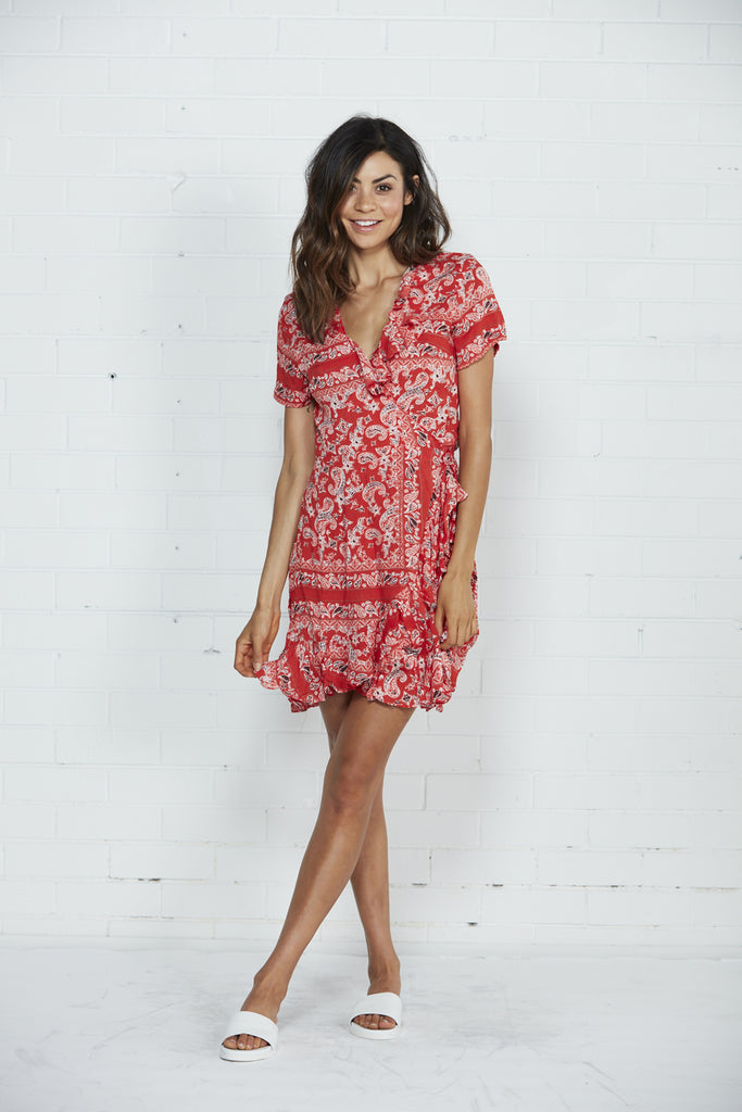 Cartel & Willow Floyd Short Sleeve Red Wrap Dress