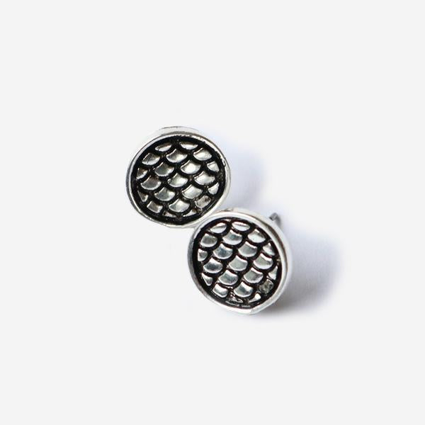 Half United Fish Scale Stud Silver Earrings