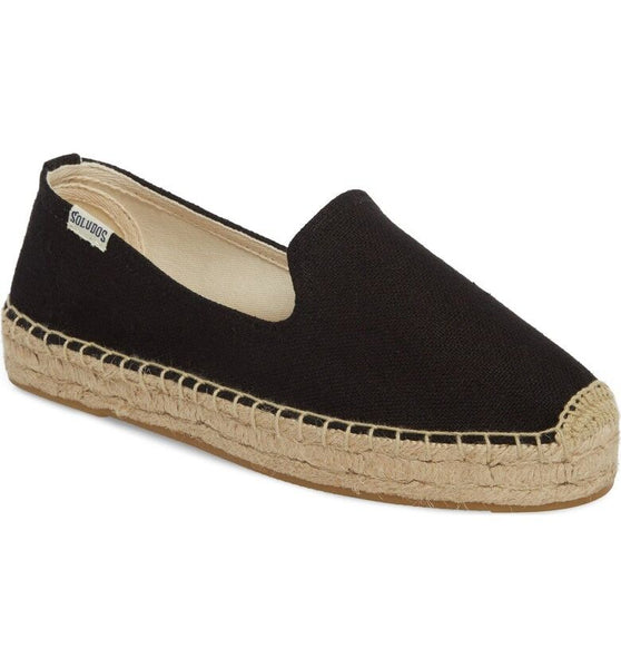 Soludos Platform Smoking Black Slipper