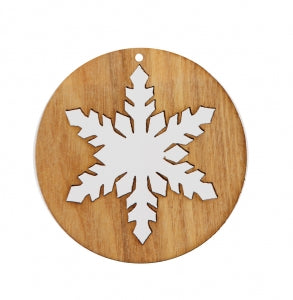 Snowflake Oak Disk Christmas Decoration
