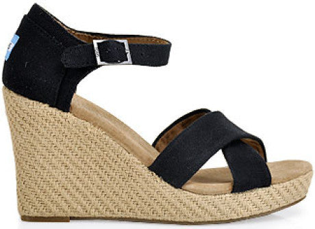 Toms Black Canvas Strappy Wedges
