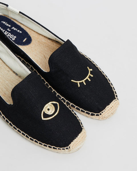 Soludos Wink Embroidery Black Slipper