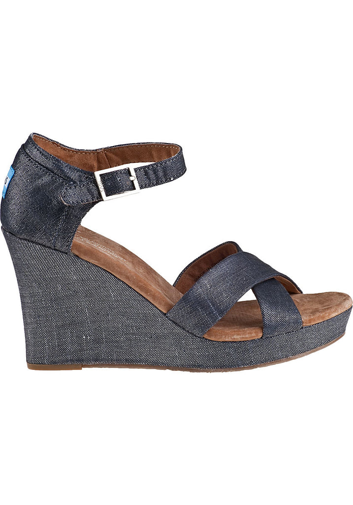 Toms Black Metallic Linen Wedge