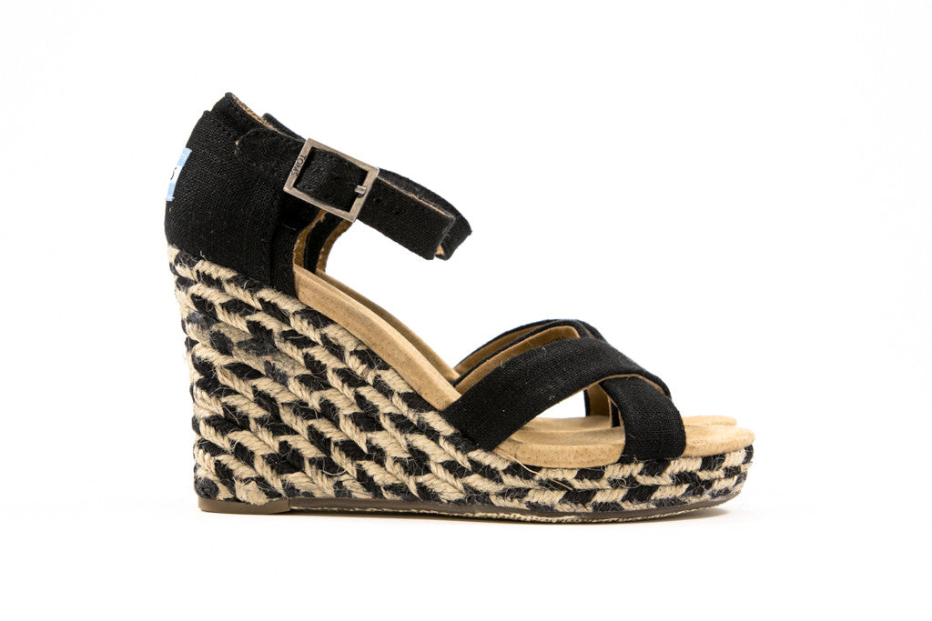 Toms Black Mixed Rope Strappy Wedge